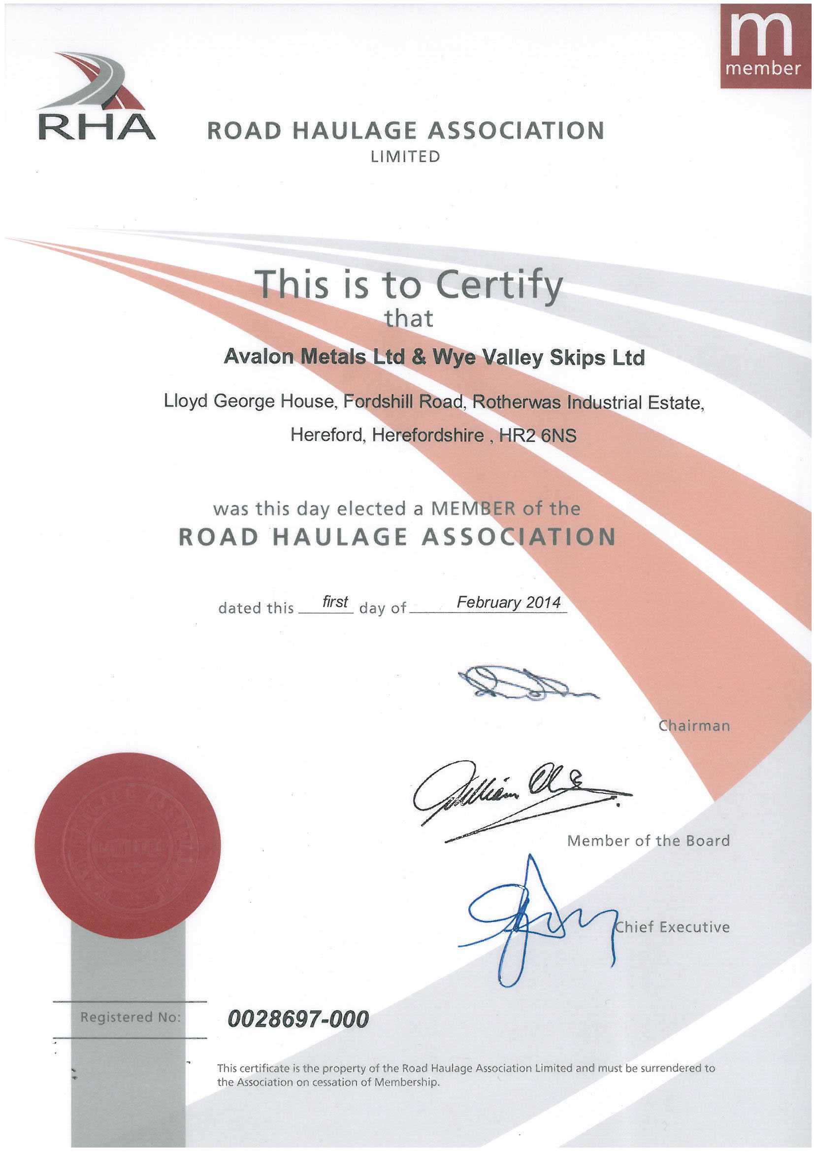 Road Haulage Association Member Certificate